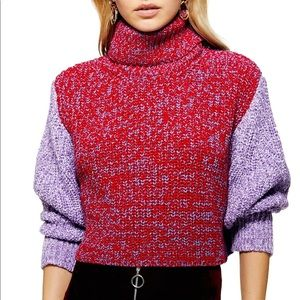 Topshop Chunky Knit Turtleneck Crop Sweater